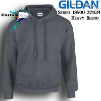 Gildan Dark Heather Hoodie Heavy Blend Basic Hooded Sweat Sweater Mens
