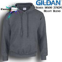 Gildan Dark Heather Hoodie Heavy Blend Basic Hooded Sweat Sweater Mens