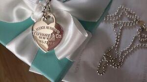 Tiffany & Co Please return to Tiffany Heart pendant long ball chain necklace