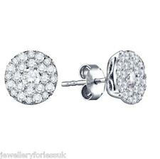 18Carat White Gold Half Carat Round Diamonds Pave Set Cluster Pair Earrings 0.50
