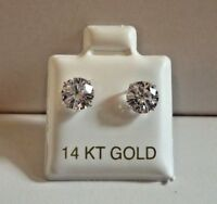 1 CTS ROUND FLAWLESS MAN MADE DIAMOND STUD EARRINGS 14K SOLID WHITE GOLD