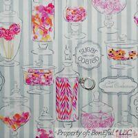 BonEful Fabric FQ Cotton Gray Silver Pink Girl Sweet 16 Sugar Candy VTG Birthday