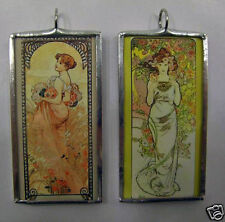 MUCHA SUMMER/ROSE DOUBLE SIDED ART GLASS PENDANT