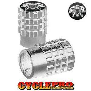 2 Silver Billet Knurled Tire Valve Cap Motorcycle - SCREAMING SKULLS - 052