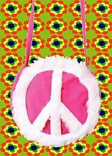 A314✪ 60er 70er Jahre Flokati Peace Zeichen Tasche Festival Hippie pink weiß
