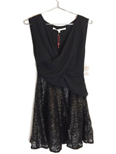 New With Tags Rachel Roy Womens Sleeveless Glittery A-Line Dress Black S $159