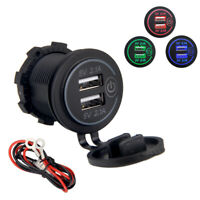 For Car Boat Marine 12V 24V Car Charger Adapter 2.1A Dual USB LED Touch ON OFF