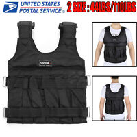 44/110lbs Adjustable Weighted Vest Fitness Workout Training Boxing Jacket Black