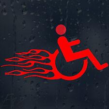 FUNNY veloce e furiosa sedia a rotelle in fire fiamme Auto Decalcomania Adesivo Vinile