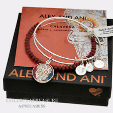 Authentic Alex and Ani AI Calavera (ii) Set of 2, Shiny Silver Charm Bangle