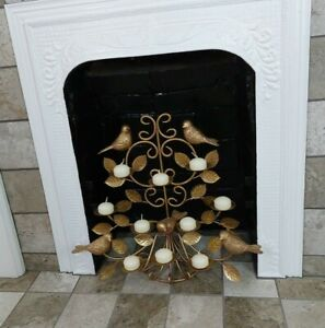 Gold Metal Wall Sconce/Table Top Candle Holder Birds Leaves Holds 10 Candles