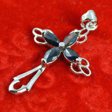 Sapphire pendant, Cross design, Sterling Silver 925, Natural Gemstone  - GW1019