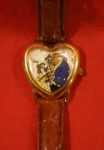 TIMEX Disney BEAUTY and the BEAST Watch Mother of Pearl back WORKING New Battery