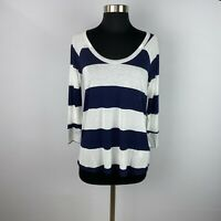 Soft Joie Womens XS White Navy Blue Apollo Striped Top 3/4 Sleeve Rayon Casual