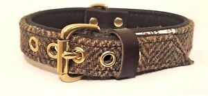 Green Harris Tweed on Brown leather dog collar with solid brass hardware