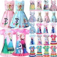 Mädchen Anna Elsa Kleid Nachtkleid Kinderkleid Prinzessin Partykleid Nachtwäsche
