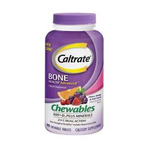 Caltrate Bone Health Advanced Calcium 600 + D3 & Minerals, 90 Chewable Tablets