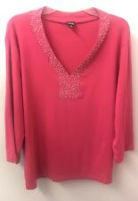 Rafaella 3X Hot Pink V Neck Beaded Knit Top 3/4 Sleeve Euc