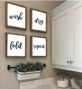 4x Laundry Room Sign, Farmhouse Style, Laundry Decor Print 20 x 20 cm