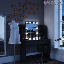 Vicco LED Schminktisch Charlotte 142x108cm schwarz Frisiertisch Kommode Spiegel