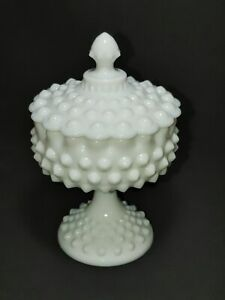Vintage Fenton Milk Glass BIG Hobnail Round Footed Compote Covered Candy Dish