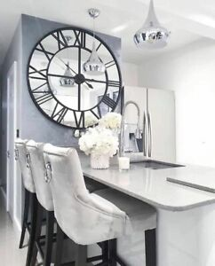 Extra Large Black Clock Wall Mounted  Mirrored Metal Glass Hallway Kitchen 120cm