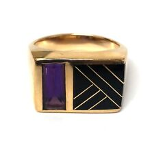 14K Yellow Gold Black Onyx Inlay & Purple Amethyst Signet Ring
