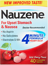 Nauzene For Upset Stomach and Nausea Wild Cherry Flavor Chewable Tablets - 40 CT