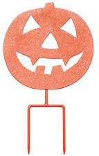 Halloween Pumpkin Scary Jack-O-Lantern Metal Garden Stake Sign