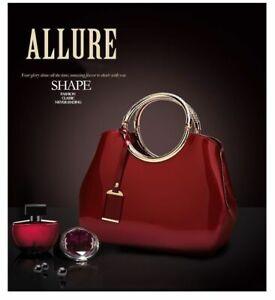 Women Patent Leather Bag Fashionable Totes Handbag Large Capacity Casual Satchel