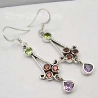 Mix Stones Natural GEMSTONE MULTI COLOR Earrings 2 inches ! Fine Silver 925