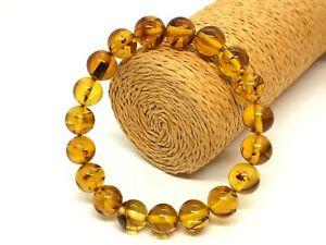 AMBER BRACELET Big Size Gift Natural BALTIC AMBER Round Beads Elastic 15g 15896