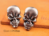 10X Antique Silver Biker Motocycle Skull Head Leathercraft CONCHOS Screwback