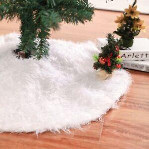 59 Inch Christmas Tree Plush Skirt Decoration Faux Fur Party Tree Skirt Decor