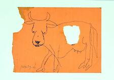 "Menashe Kadishman ""Cow"" Kinetic Painting Original Early Work Super Rare"