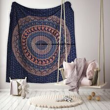 Elephant Mandala Print Kantha Quilt Bedspread Queen Size Blue Indian Bedding