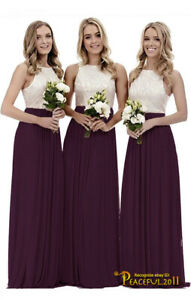 New Long Chiffon Lace Evening Party Ball Gown Formal Prom Bridesmaid Dress 4~26
