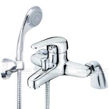 MODERN CHROME SINGLE LEVER BATH SHOWER MIXER DECK MOUNTED TAP SHOWER HOSE & HEAD