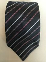 Stefano Ricci Luxury Collection Black Purple Striped Silk Tie Made in Italy