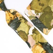 Take 6 Kashani Mens Silk Necktie Pocket Square Matching Set Green Watercolor
