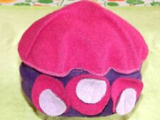 Funky Purple & Magenta Woollen Mix Hat with 'Flowers' Hippie Boho Festival