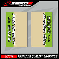 SHOWA UPPER FORK DECALS MOTOCROSS GRAPHICS MX PROCIRCUIT CLEAR GREEN