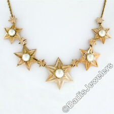 "18K Yellow Gold 17"" Graduated Textured Star w/ Pearl Collier Statement Necklace"