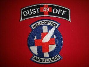 2 Korea War Scroll & Patch: DUSTOFF + US 49th Medical Det HELICOPTER AMBULANCE