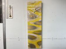 Yellow and Silver Abstract Resin Wall Clock
