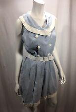 Romper Vintage Cotton Ashley Taylor Petites 26 Retro White Trim Belted Pockets