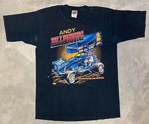 Vintage 1990's Andy Hillenburg World of Outlaws Sprint Car Tee - Large