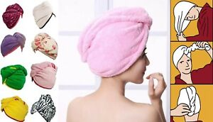 New 100% Cotton Hair Wrap Head Towel Turban Turbie Twist Drying 500GMS Buttoned