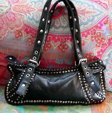 Sabine Black Leather Studded Handbag Purse City Rock Star Motorcycle Chic