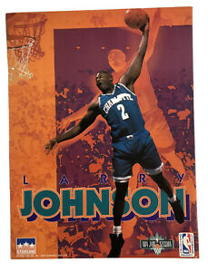 Vintage NOS 1993 LARRY JOHNSON Charlotte Starline NBA Pocket School Folder